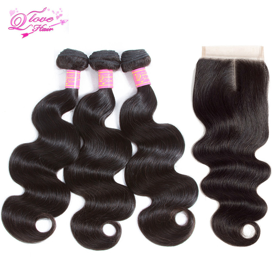 Queen Love Hair Malaysian Body Wave Lace Closure Remy 3 Bundles Hair Weave Natural Color Human