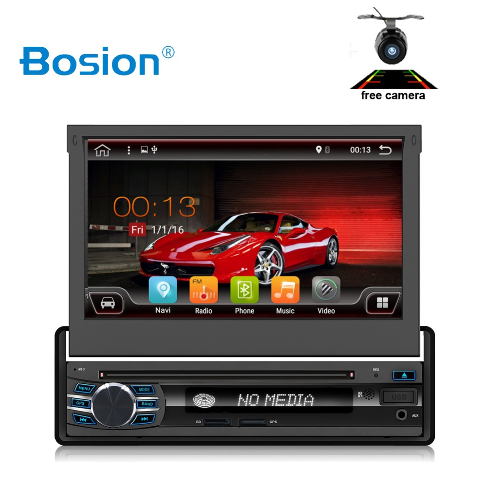 2G RAM 16ROM 1 Din Android 7.1 Quad 4 Core Car DVD Player For Universal GPS Navigation Stereo Radio WIFI MP3 Audio USB SWC image