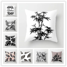 Soft Summer Tropical Jungle Plant Cushion Cover Palm Leaves Throw Pillow Case Black White Geometric Pattern Home Decor