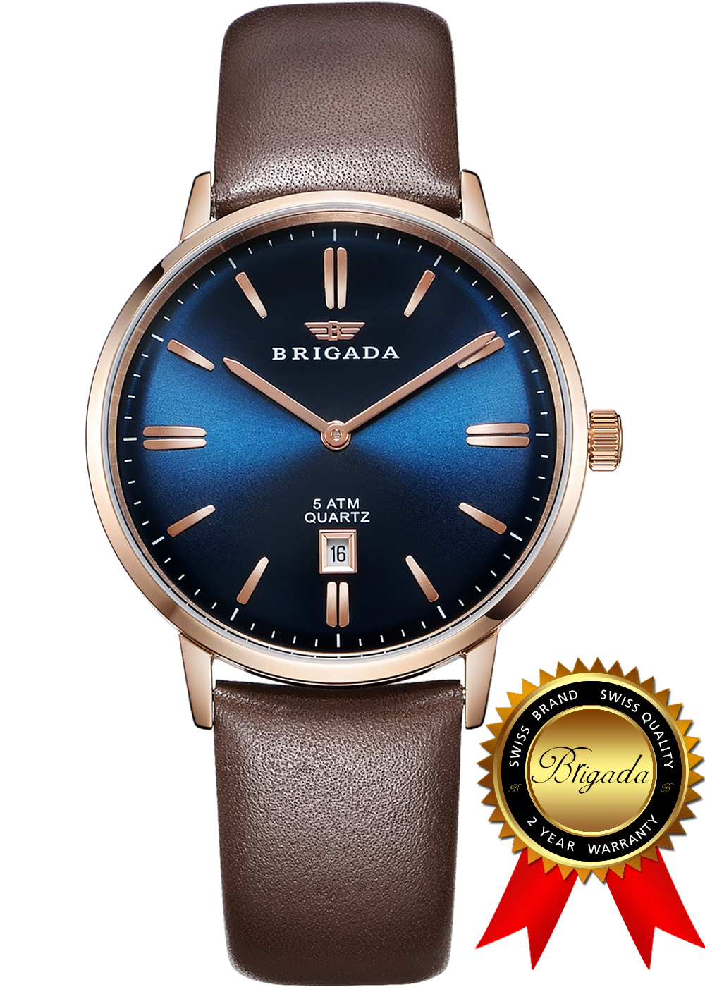 BRIGADA Swiss Watches for Men, Nice Business Casual Blue Brown Men's Watch, Great Gift for Someone or Yourself