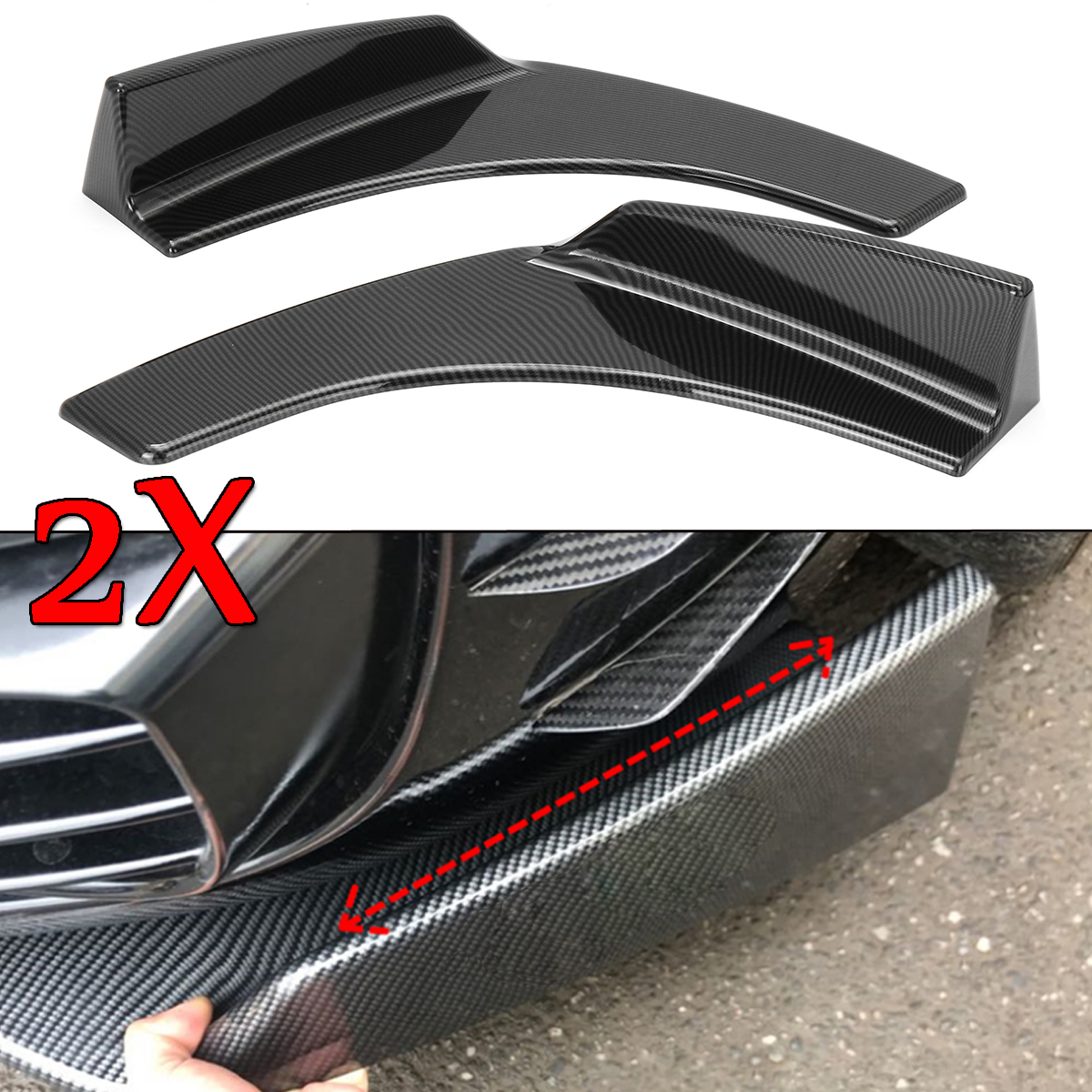 A Pair Carbon Fiber Look/Black Universal Car Front Bumper Splitter Lip Bumper Deflector Spoiler Diffuser Canard Lip Protection