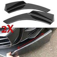EIN Paar Carbon Fiber Look/Schwarz Universal Auto Front Stoßstange Splitter Lip Bumper Deflektor Spoiler Diffusor Canard Lip Schutz
