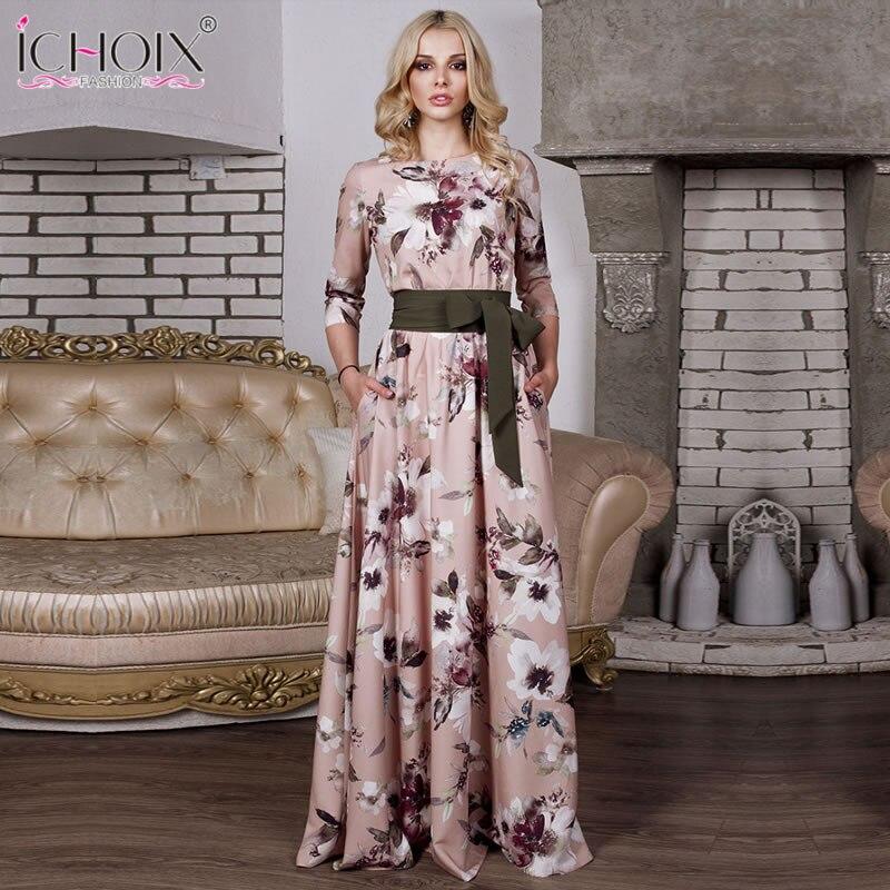 96ed6e3bdc 2018 Autumn Women Long Maxi Dress Casual Vintage Floral Print Female Long  Dress Bohemian Style Elegant Floor Length Party Dress | JUANEVA