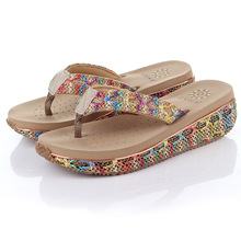 Cane Flip Flops 2015 Casual Women Shoes Summer High Heels Sandals Wedges