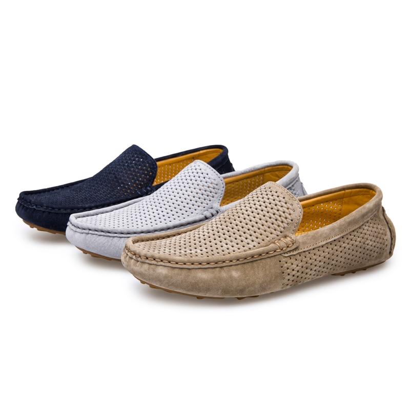 Les Hommes Respirant Évider Doux Sur Les Chaussures Slip Plates En Cuir Décontractée DEg6hG