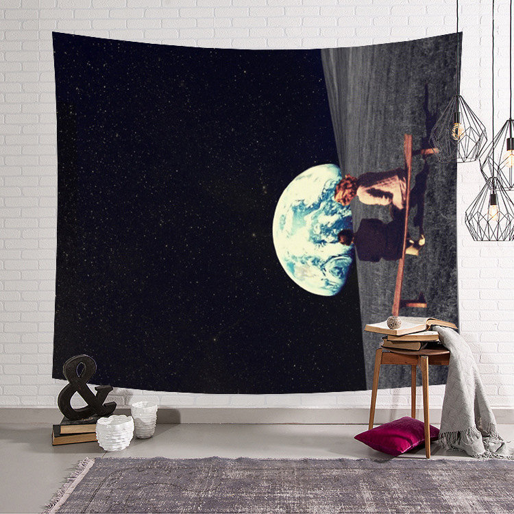 Image 2 - CAMMITEVER Astronaut Space Moon Earth Cloud Hanging Wall Tapestries Creative Home Decoration-in Tapestry from Home & Garden