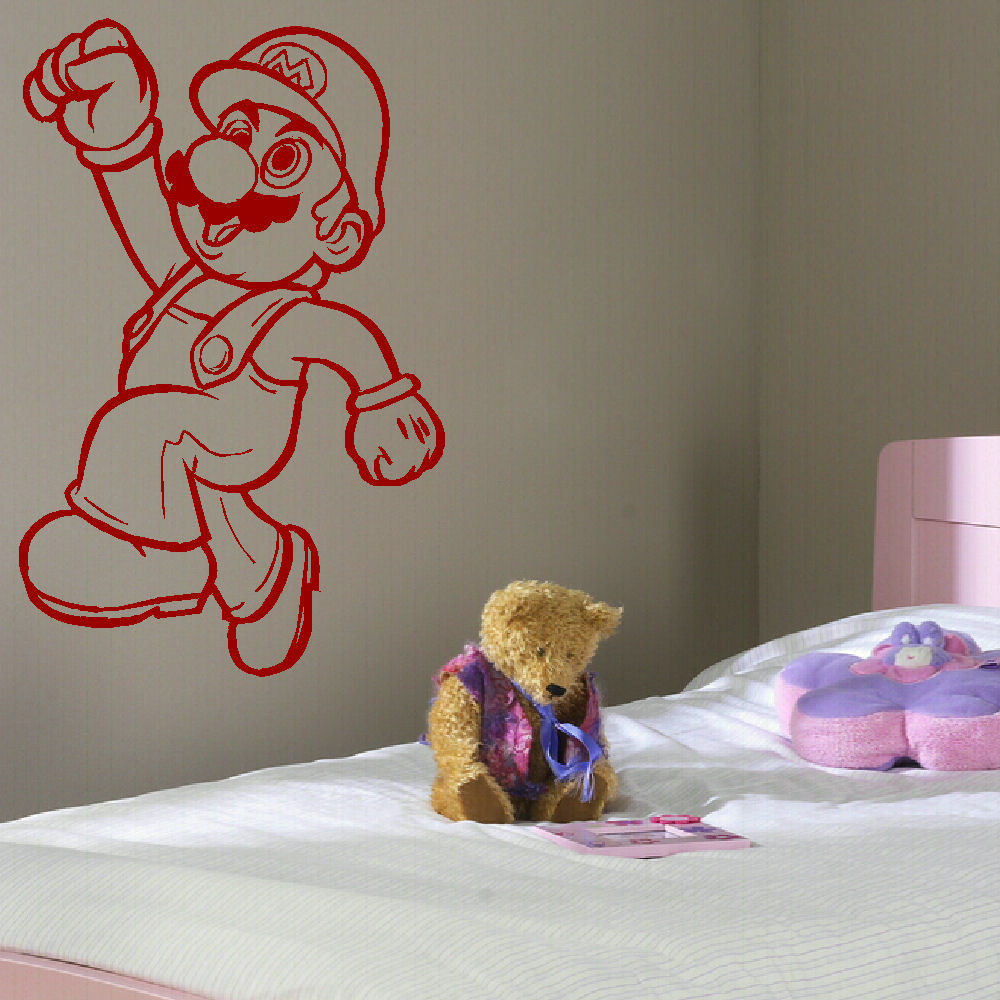 D301 LARGE MARIO BROS KART CHILDRENS BEDROOM WALL MURAL STICKER ART TRANSFER VINYL