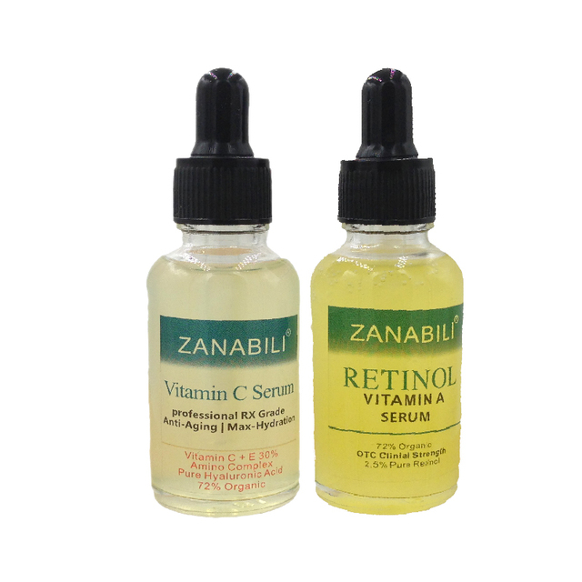 ZANABILI Pure Retinol Vitamin A 2.5%  +  30% Vitamin C + E 100% HYALURONIC ACID Facial Serum  Anti-Aging Moisturizing Face Cream