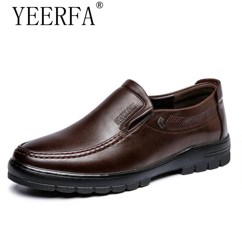 YIERFA New 2017 Comfortable Men Shoes PU Leather Casual shoes Middle Old aged Flats Handsome Loafers for fathers shoes eur 38-44 cbjsho brand men shoes 2017 new genuine leather moccasins comfortable men loafers luxury men s flats men casual shoes