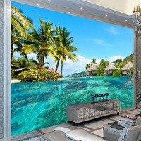 Custom 3D Photo Wallpaper HD Maldives Sea Beach Natural Landscape Photography Living Room TV Background Wall