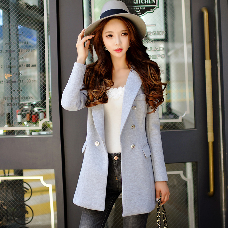 Original 2016 Brand Women's Jacket Autumn Winter Plus Size Double Breasted Elegant Casual Solid Gray Blazer Feminino