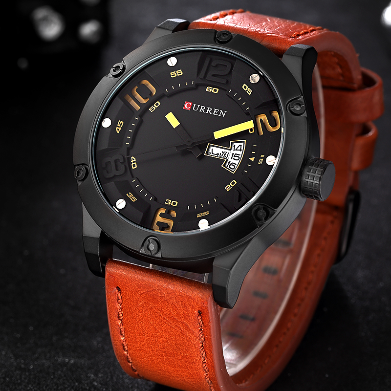 CURREN Luxury Brand Date Japan Movt Men Quartz Casual Watch Army Military Sports Watch Men Watches Male Leather Clock 2017 shiweibao a3137 male dual movt quartz watch with date function leather band