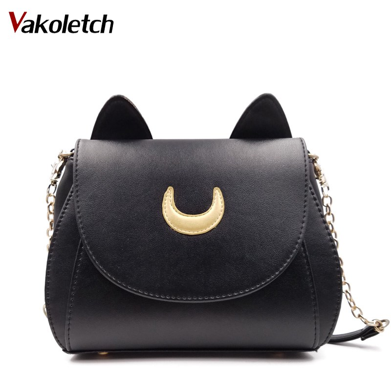 fabc0eeae2 2019 New Summer Limited Sailor Moon Chain Shoulder Bag Ladies Cat PU  Leather Handbag Women Messenger