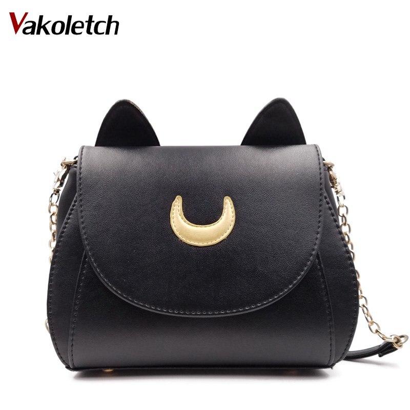 2018 новый летний ограниченным Сейлор Мун цепь сумка женская CAT PU кожаная сумка Для женщин Crossbody Малый B K109