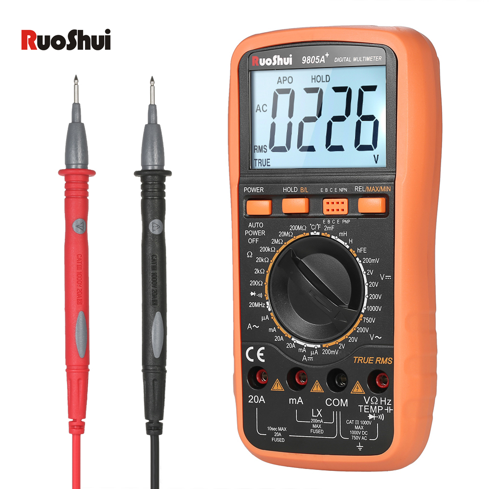 RuoShui 1999 Count Digital Multimeter DC AC voltmeter Ammeter Resistance Diode Capacitance Temperature Inductance hFE Tester auto digital multimeter 6000counts backlight ac dc ammeter voltmeter transform ohm frequency capacitance temperature meter xj23