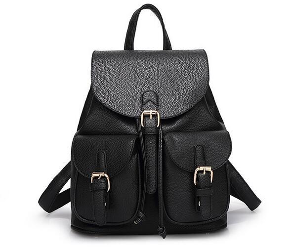 2016 New Women Leather Backpacks Bolsas Mochila Feminina Large Girls Schoolbag Travel Bag Solid Candy Color Black Pink BeigeA059
