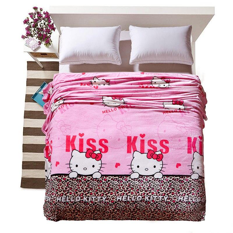 Cartoon Hello Kitty Blanket Thin Soft Fleece Blankets Throws on Winter Bed Sheet <font><b>Sofa</b></font> Twin Full Queen King For Children