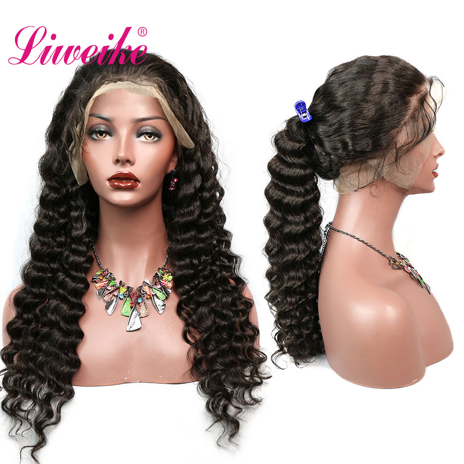 Liweike Hair Deep Wave 360 Lace Frontal Wigs 150 200 Density Full Ends Remy Human Hair
