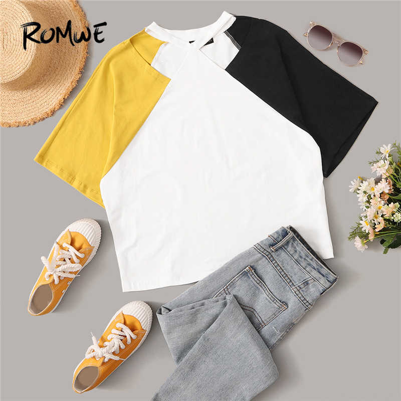 ROMWE Colorblock Batwing Half Sleeve Casual Cutout Neck Women T Shirts Summer Fashion Multicolor Cut And Sew Tops Tees