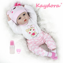 Kaydora 22 inch 55cm Adorable Bebe Reborn Baby Dolls Handmade lol surprise reborn baby doll Style dolls Hot sale Christmas gift(China)