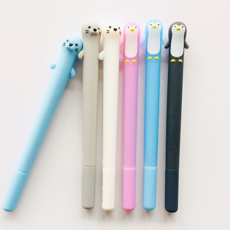 1PC Cute Silicone Penguin Otter Gel Pen Rollerball Pen School Office Supply Student Stationery Black Ink 0 5mm in Gel Pens from Office School Supplies