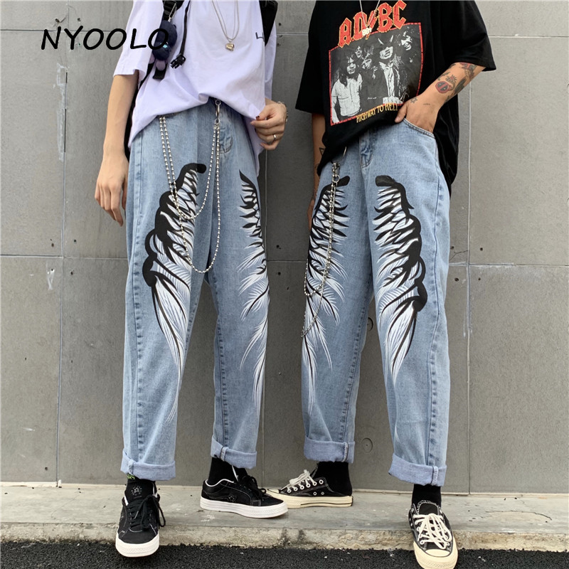NYOOLO Harajuku Style Washed Wings Printed Denim Pants Vintage High Waist Full Length Straight Jeans Women Men Cowboy Streetwear