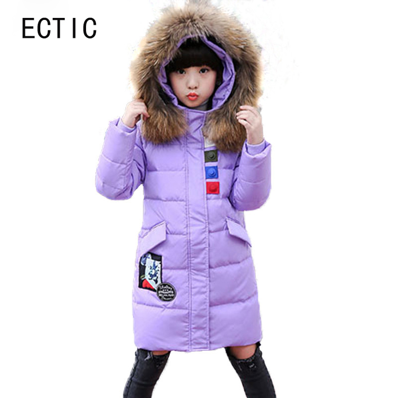 Brand Girl Duck Down Jackets For Cold Winter Children Warm Duck Down & Parkas Girls Fur Collar Outerwear & Coats russia winter boys girls down jacket boy girl warm thick duck down