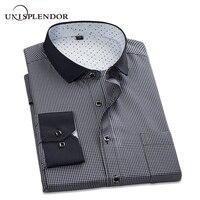 Unisplendor 2018 الرجال عارضة قمصان الرجال منقوشة قميص طويل الأكمام الأعمال الاجتماعية يتأهل قميص زائد حجم 4xl YN904