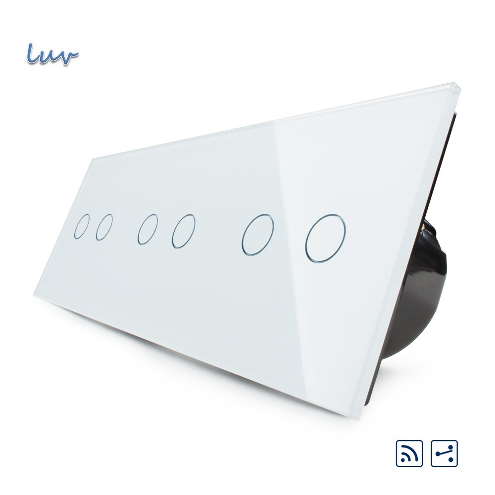 EU Standard, 6gang 6 way Touch Switch, Free Combination Luxury Wall Triple Touch Switch, C706R-11,With White Crystal Glass Panel smart home eu touch switch wireless remote control wall touch switch 3 gang 1 way white crystal glass panel waterproof power