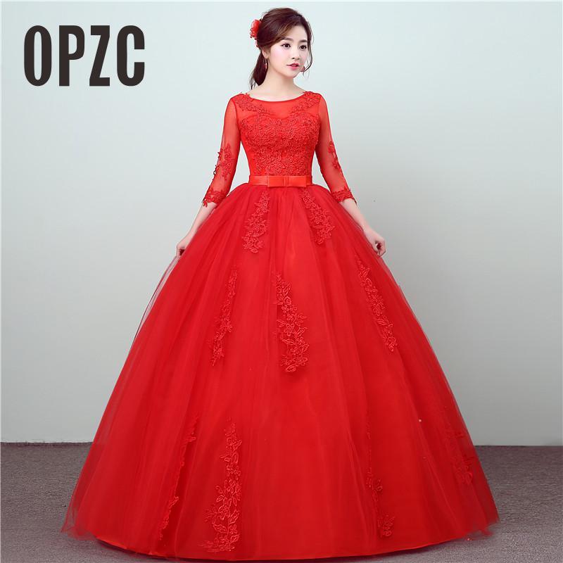 Красное свадебное платье из кружева