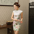 Grace Women Short Summer Chinese Dress Flower Chinese Traditional Dress Female Cotton  Chi-pao Mini Evening Party Dress 18