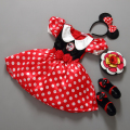 Retail Minnie Vestido Ratón Mini Mouse Traje de Ballet Tutu Dress + Ear 2-9Y chicas gasa vestido