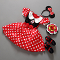 Varejo Minnie Vestido Rato Mini Mouse Traje Ballet Tutu Dress + Ear 2-9Y meninas vestido de chiffon
