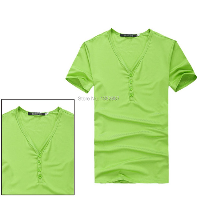 14e3d1fda61 Men V Neck Button Up Placket Casual Pullover Tee Shirt Black Green Red  yellow Blue
