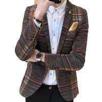 Blazer homme coupe cintrée design coréen élégant Plaid masculin Blazer Masculino Tweed bouton mariage décontracté hommes Blazer veste costume