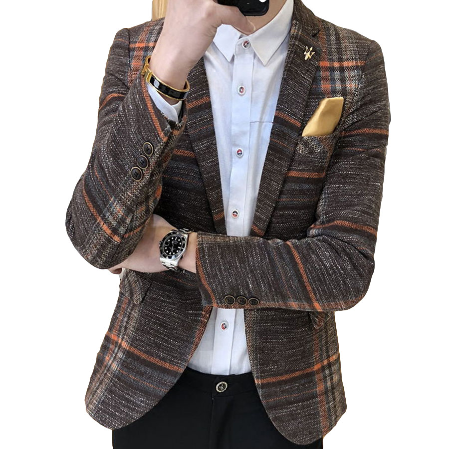 Homens Blazer Slim Fit Projetos Coreanos Casamento Botão Elegante Tweed Xadrez Masculino Blazer Masculino homens Casuais Jaqueta Blazer Terno