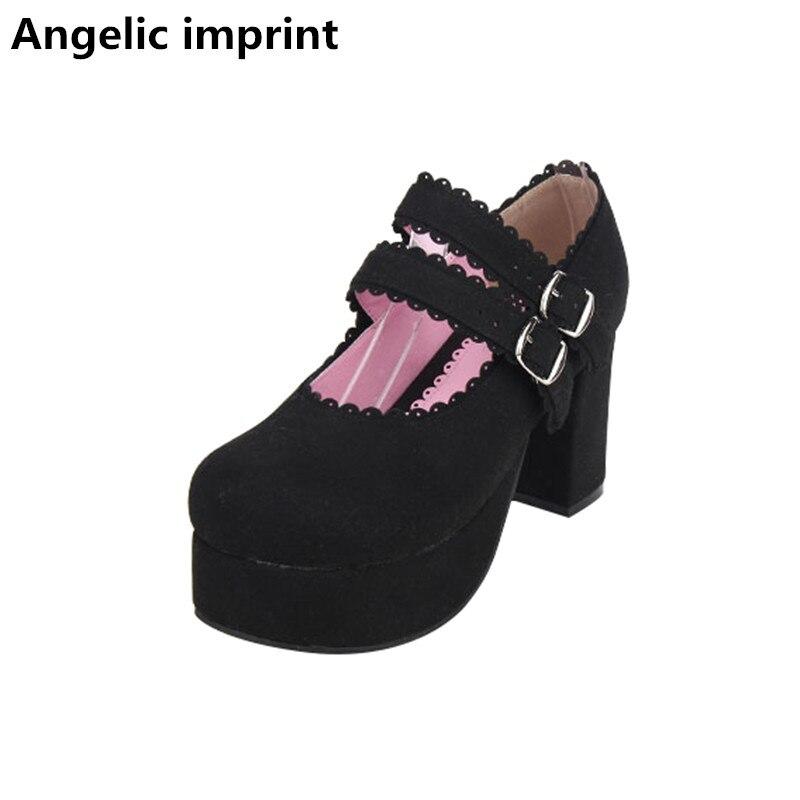 Cm Tacones Señora Mujer Bombas Princesa Zapatos Flock Mori Angelical Partido Cosplay Black Vestido 47 Impresión 8 Altos Chica Lolita Mujeres Negro nx0W8qFnUw