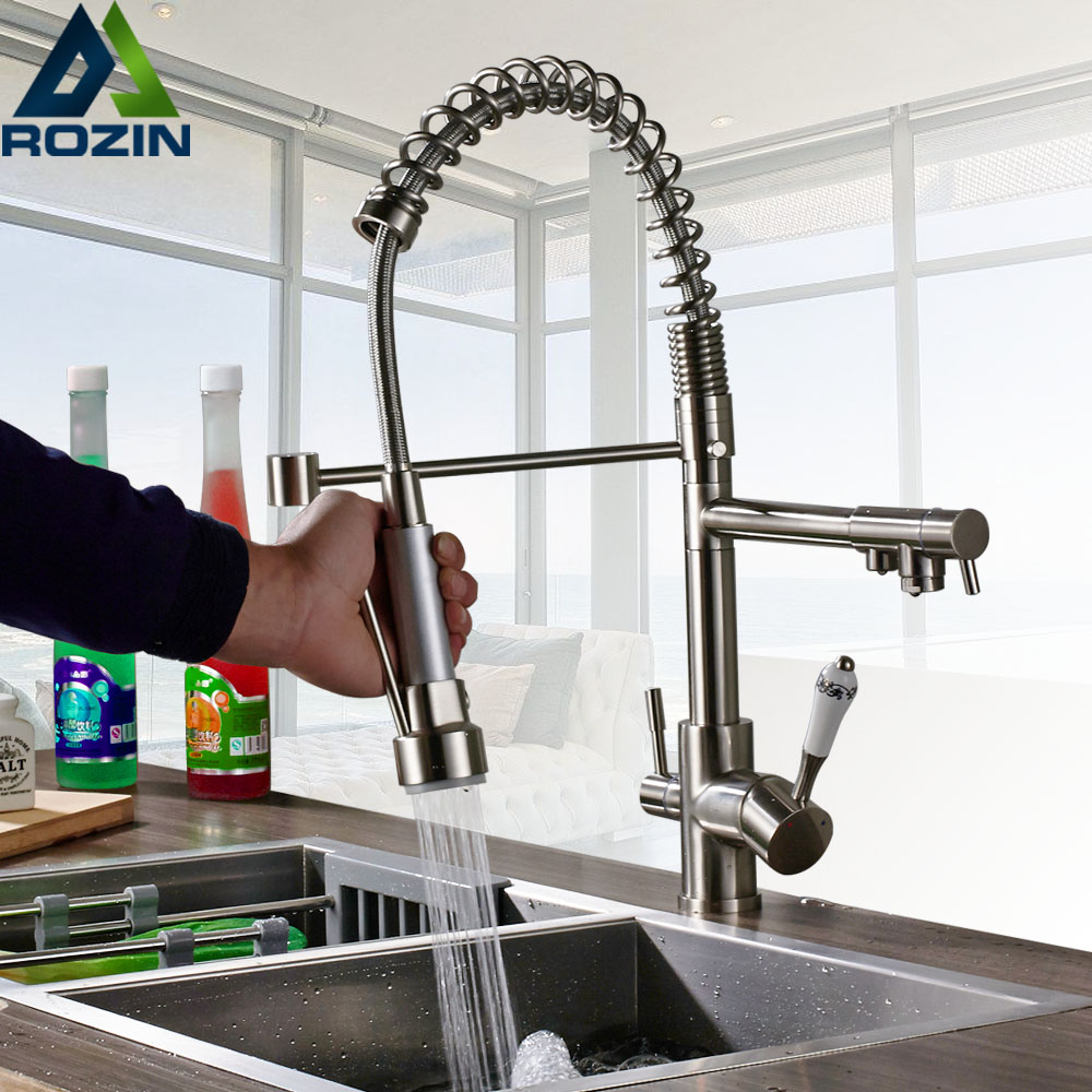 Brushed Nickel Kitchen Faucet Purification Dual Swivel Spout Kitchen Mixer Crane Spring Pull Down Hot Cold
