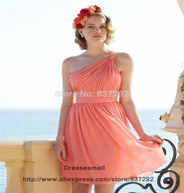 f04e7b6f2a Cheap Robe Demoiselle D honneur Coral Short Bridesmaid Dress One Shoulder  Chiffon Knee Length Bridesmaid Dress for Wedding