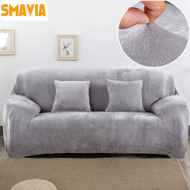 Winter Thicken Sofa Cover Stretch Slipcover Armchair Couch Cover Thick  Velvet Fabric Anti Mite Accept