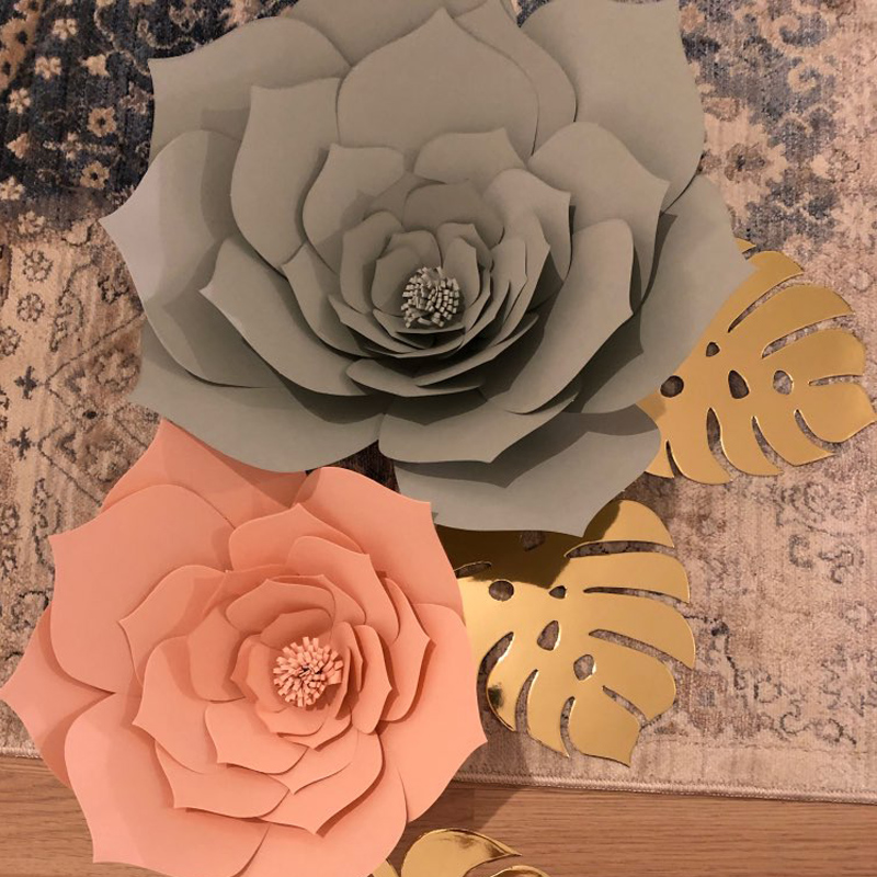Baby Shower 30cm Wall Backdrop Flowers Paper Flowers Wedding Decoration DIY Artificial Flower Rose Paper Crafts Wedding Flower