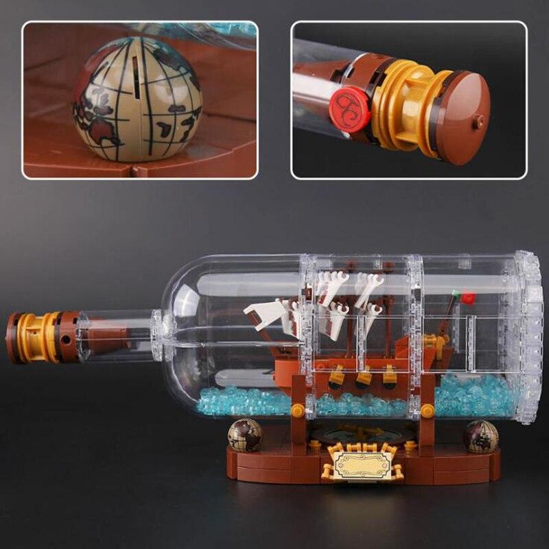 16051 Creative Ship in a Bottle Creative Pirates of the Caribbean Pirates ship 21313 Building Blocks Bricks Funny Toy oyuncak