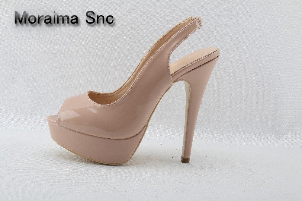 Moraima Snc Peep Toe Nude Patent Leather Sky High Heels Pumps Classic Ladies Stiletto Heels Platform Women Shoes Party Wedding apopeo nude patent leather peep toe