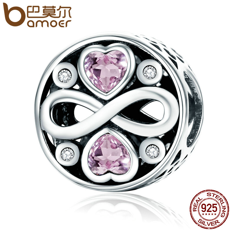 BAMOER Authentic 100% 925 Sterling Silver Infinity Love Pink Heart Crystal Beads Fit Charm Bracelets Fine Jewelry S925 SCC240 925 sterling silver infinity bracelets