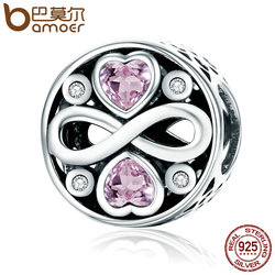 BAMOER Authentic 100% 925 Sterling Silver Infinity Love Pink Heart Crystal Beads Fit Charm Bracelets Fine Jewelry S925 SCC240