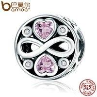 BAMOER Otantik 100% 925 Gümüş Infinity Aşk Pembe Kalp Kristal Boncuk Fit Charm Bilezikler Güzel Takı S925 SCC240
