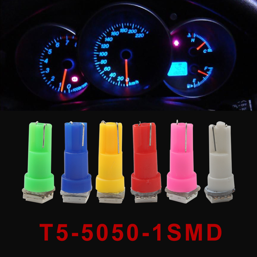50pcs Car Interior LED Light T5 74 1 SMD 5050 Led Dashboard 2721 LED Bulb Lamp Yellow Blue Green Red White Car Light Source 2pcs lot red led light 25 31mm spst 6pin on off g128 boat rocker switch 16a 250v 20a 125v car dash dashboard truck rv atv home