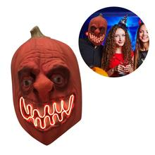 Halloween Pumpkin Mask Dark Horror With LED Light Latex Scary Terrorist Ball Party For Dress Up