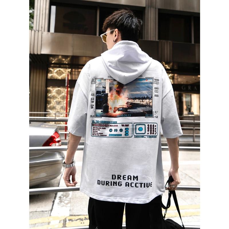 UNCLEDONJM Hip Hop Funny Printed Short Sleeve Hooded Sweatshirts Harajuku Casual Hoodies Streetwear 2019 Summer 275S