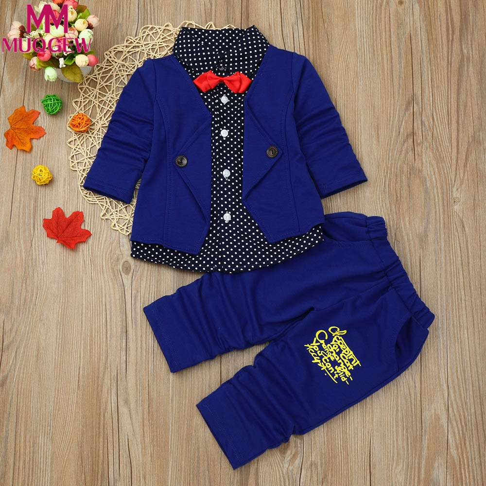 cc34eb93921f0 US $10.34 20% OFF|MUQGEW Kid Baby Boy 12M 4T Gentry Clothes Set Formal  Party Christening Wedding Tuxedo Bow Suit casual kid Coat winter for  childr-in ...